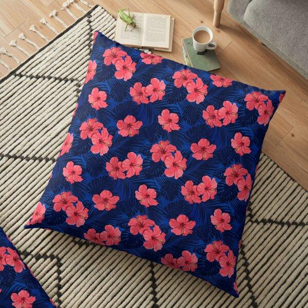 Blue Gumamela Tropical Floor Pillow