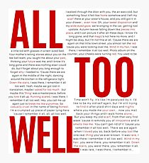 All Too Well (alle Liedtexte) Fotodruck