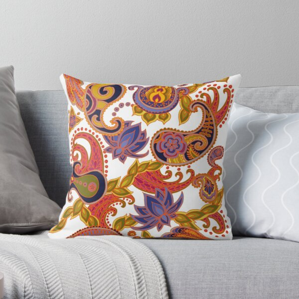 Paisley of '71 - orange Throw Pillow