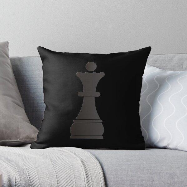 Black queen chess piece Throw Pillow