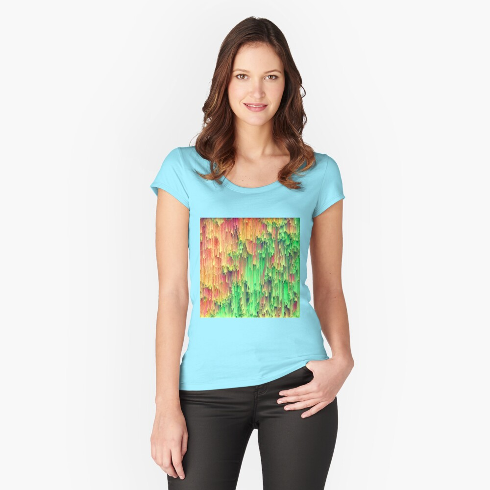 Abstract frozen wooden color streams Fitted Scoop T-Shirt