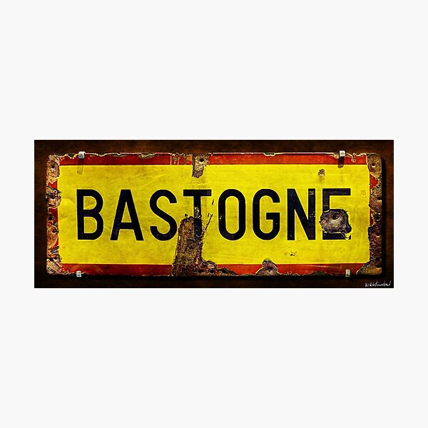 WWII Bastogne Town sign Photographic Print