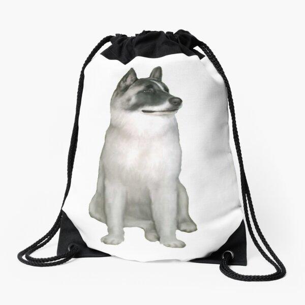 Akita 1 - Grey and White Drawstring Bag