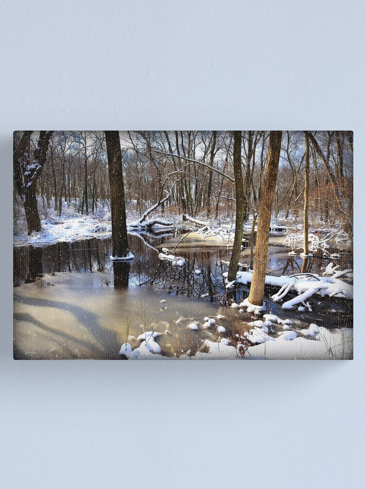 Alternate view of Snow By The Creek Canvas Print