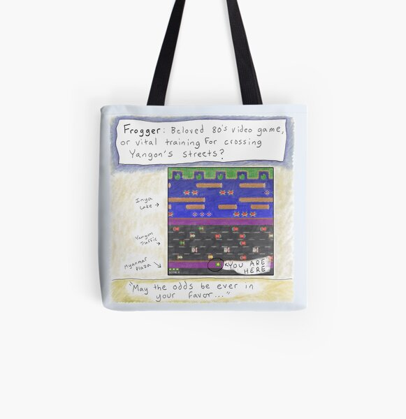 Frogger- Trying to Cross the Street in Yangon, Myanmar All Over Print Tote Bag