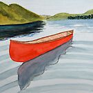 Solitary Red Canoe in a Lake by lisavonbiela
