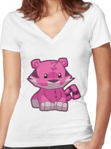 Animal Jam Tiger Plush Women's Fitted V-Neck T-Shirt