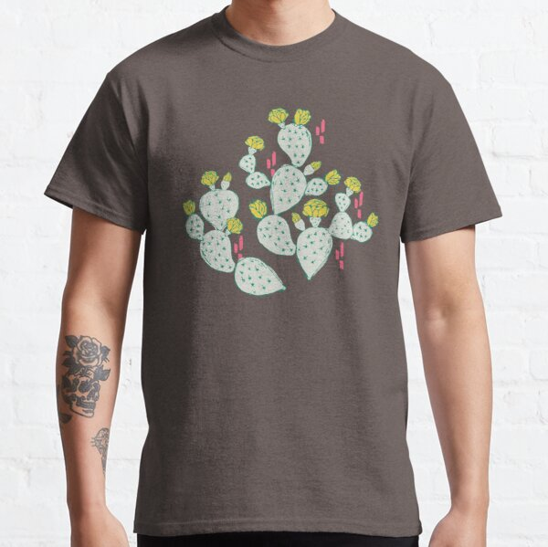 Yellow Flowering Cactus on an Emerald Background Classic T-Shirt