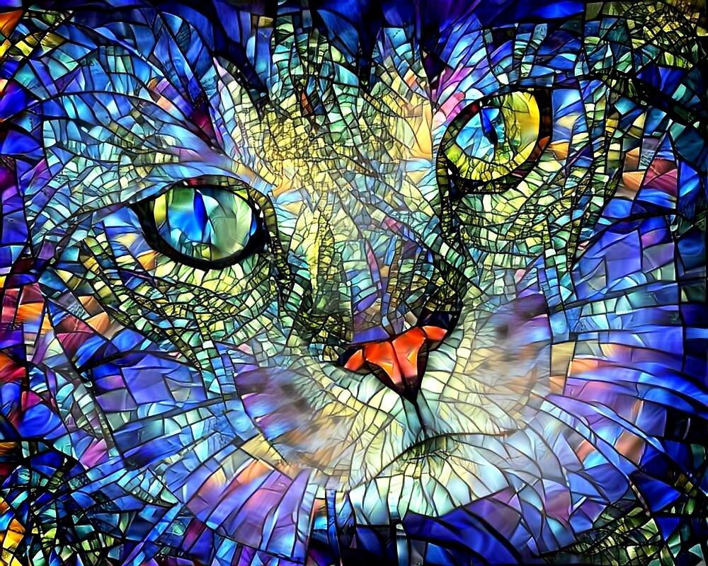 Buntglas Katze Kunst von Peggy Collins