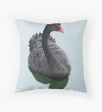 Black Swan relaxing on the lake Throw Pillow