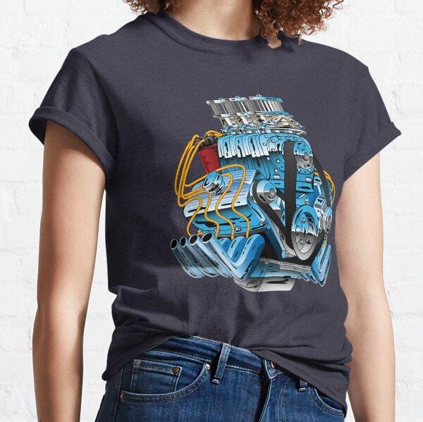 Hot Rod Race Car Dragster Engine Cartoon Illustration Classic T-Shirt