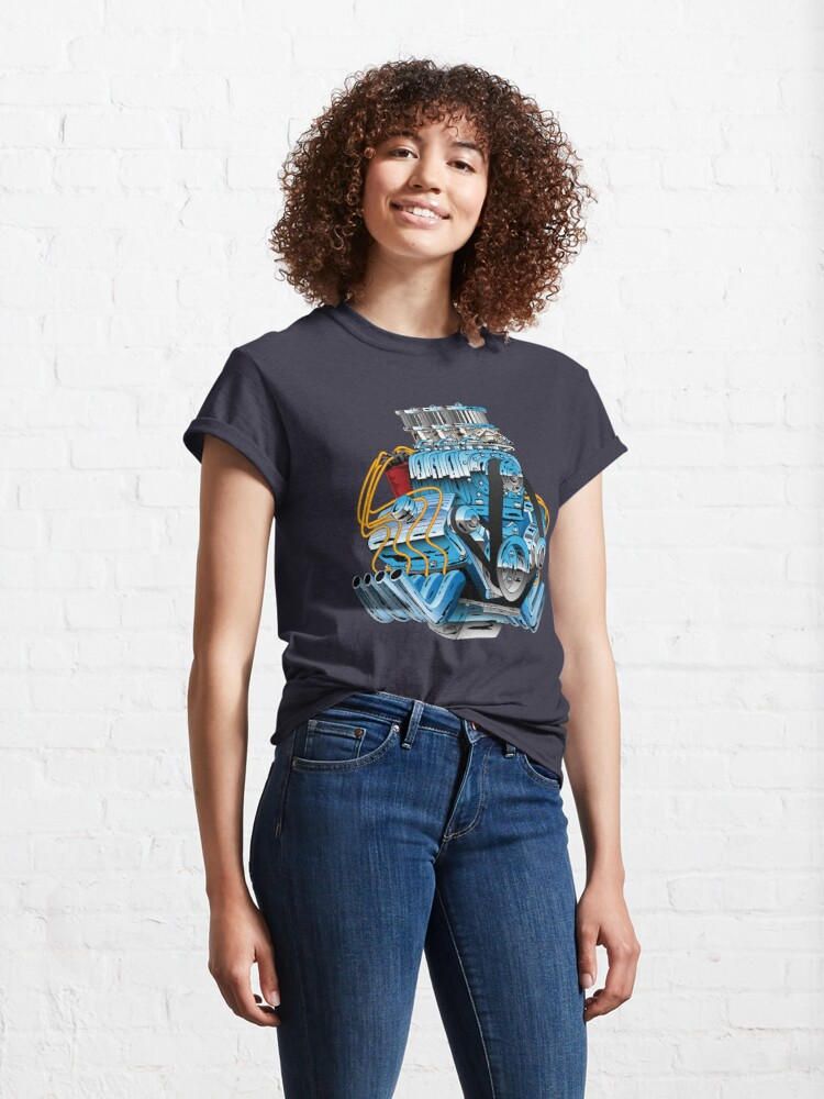 Alternate view of Hot Rod Race Car Dragster Engine Cartoon Illustration Classic T-Shirt