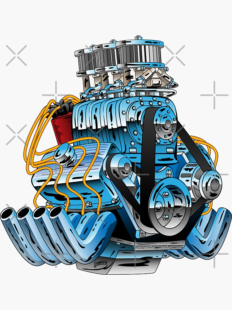 Hot Rod Race Car Dragster Engine Cartoon Illustration by hobrath