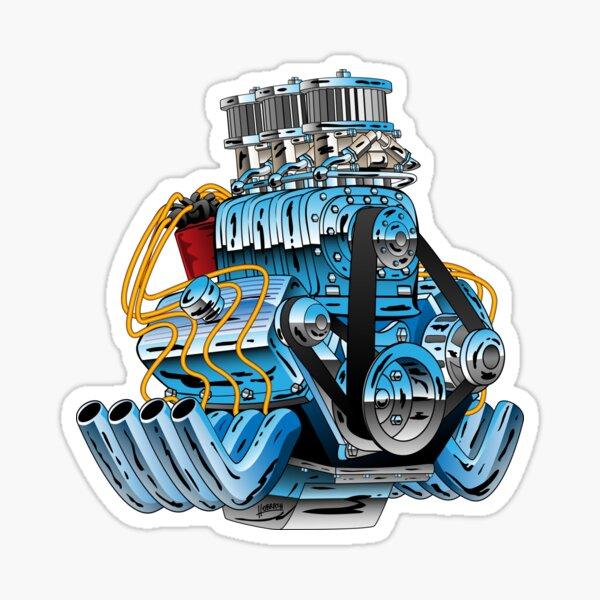 Hot Rod Race Car Dragster Engine Cartoon Illustration Sticker