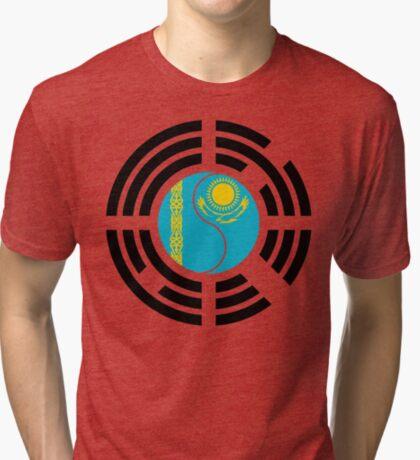 Kazakhstani Korean Multinational Patriot Flag Series Tri-blend T-Shirt