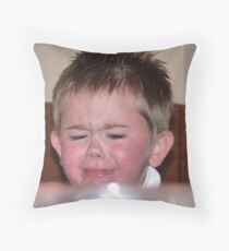 Tears flowing from this unhappy little chappie Throw Pillow