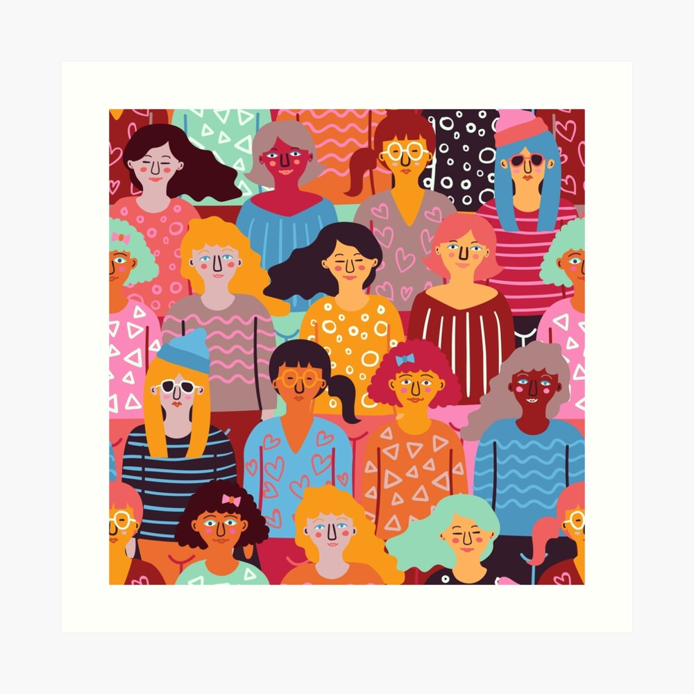 Colorful pattern of women illustration Art Print