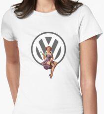 Volkswagen Pin-Up Wrenching Wanda (gray) Womens Fitted T-Shirt