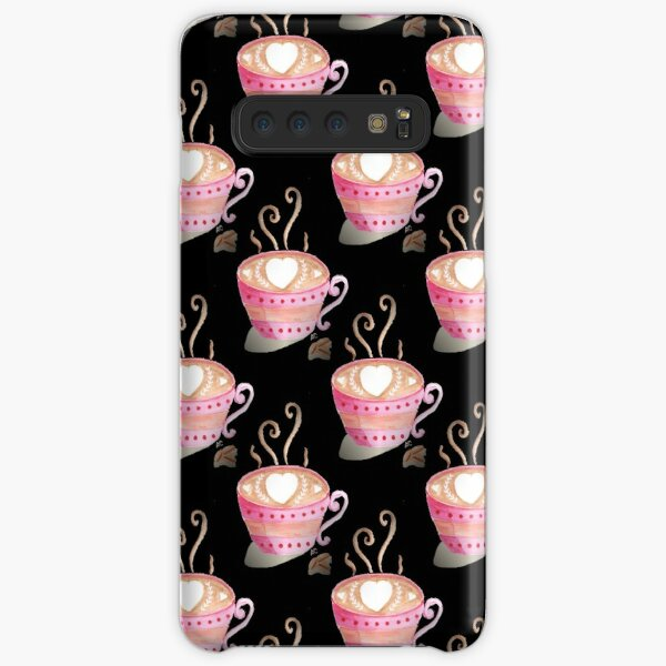 Cute pink cup of steaming coffee on black pattern Samsung Galaxy Snap Case