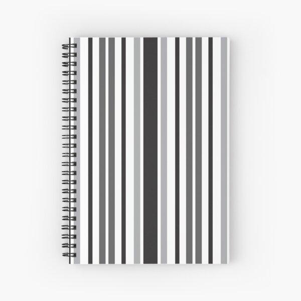 Stripes in Gray Black White Pattern Spiral Notebook