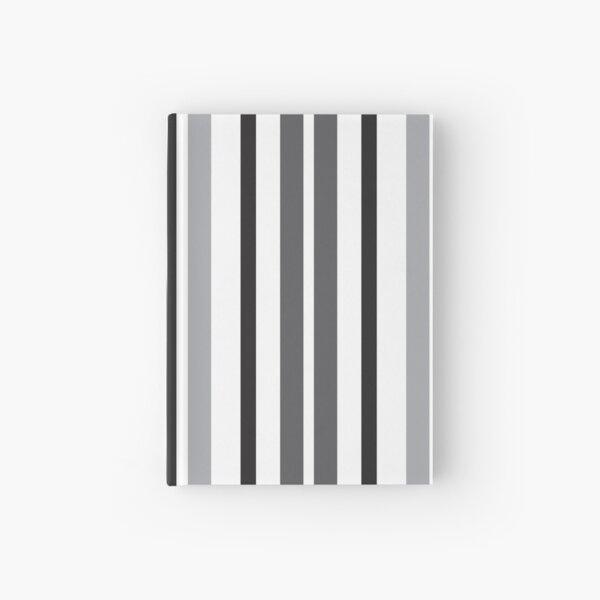 Stripes in Gray Black White Pattern Hardcover Journal
