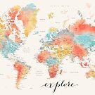 """""""Explore"""" - Bunte Aquarellweltkarte mit Städten von blursbyai"""