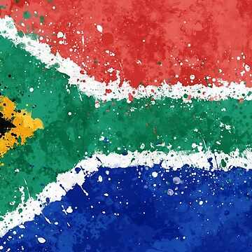 South Africa Flag Action Painting - Messy Grunge by GrizzlyGaz