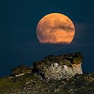 Rock Cut With Full Moon by Gary Lengyel