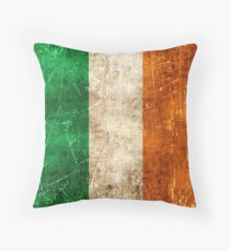 Vintage Aged and Scratched Irish Flag Throw Pillow
