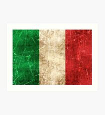 Vintage Aged and Scratched Italian Flag Art Print