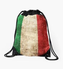 Vintage Aged and Scratched Italian Flag Drawstring Bag