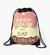 Keep Calm and Eat Ice Cream Drawstring Bag