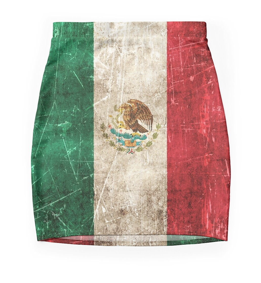 vintage aged and scratched mexican flag