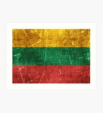 Vintage Aged and Scratched Lithuanian Flag Art Print