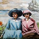 The Villa - Victorian women - mixed media collage by LindaAppleArt