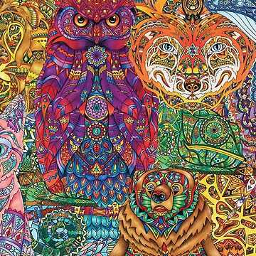Animal Gang - Inspired Adult Colouring | COLOURING - ARTWORKS CARD by mcaussieb