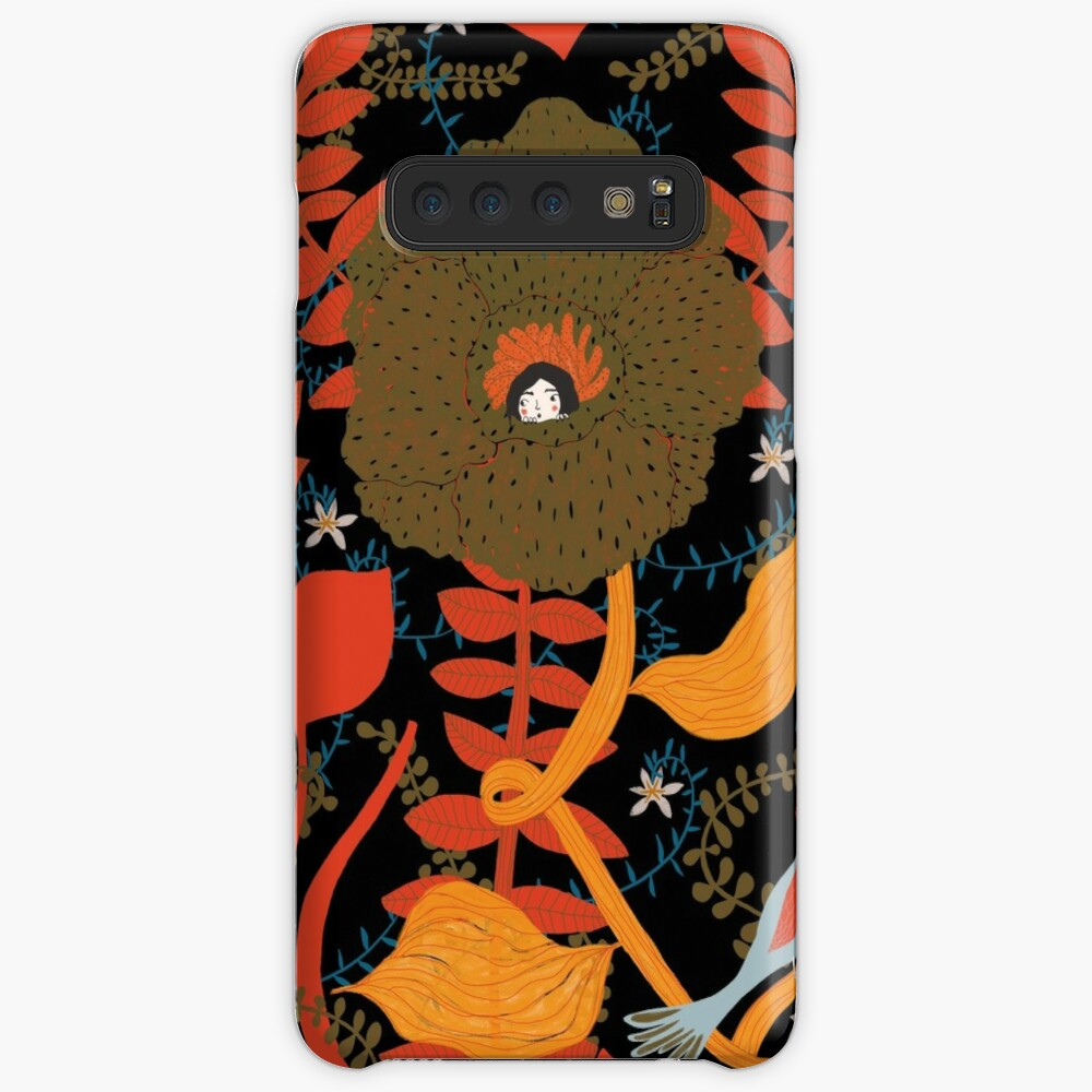 fairy tale illustration with a little girl hiding in a big flowers Case & Skin for Samsung Galaxy