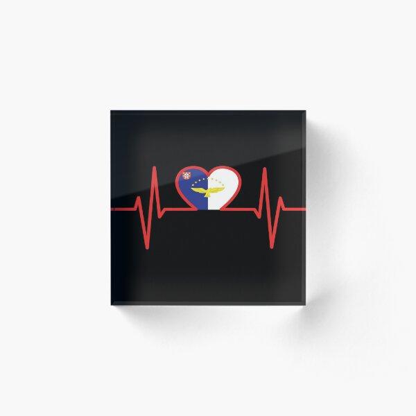 Azores flag in the heart Acrylic Block