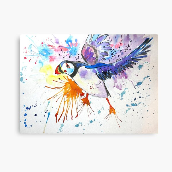Colourful Flying Puffin Canvas Print