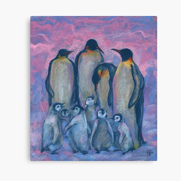 Emperor Penguins with Baby Chicks, Antarctic Birds, Pink Blue Canvas Print