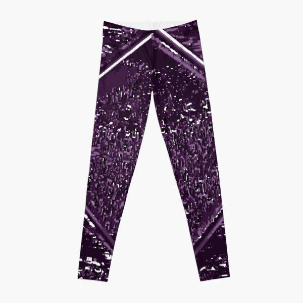 Purple Diamond VHS Glitch Art Leggings