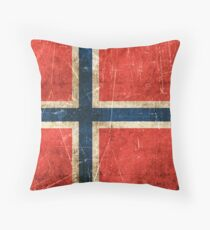 Vintage Aged and Scratched Norwegian Flag Throw Pillow