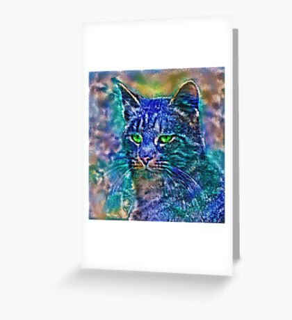 Artificial neural style Blue cat avatar Greeting Card
