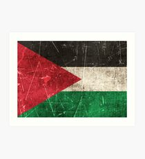 Vintage Aged and Scratched Palestinian Flag Art Print