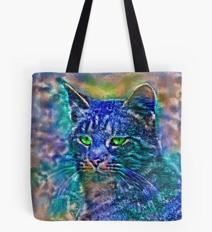 Artificial neural style Blue cat avatar Tote Bag
