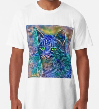 Artificial neural style Blue cat avatar Long T-Shirt