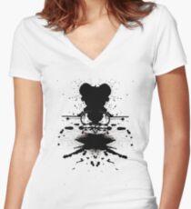 Black Heart. Women's Fitted V-Neck T-Shirt