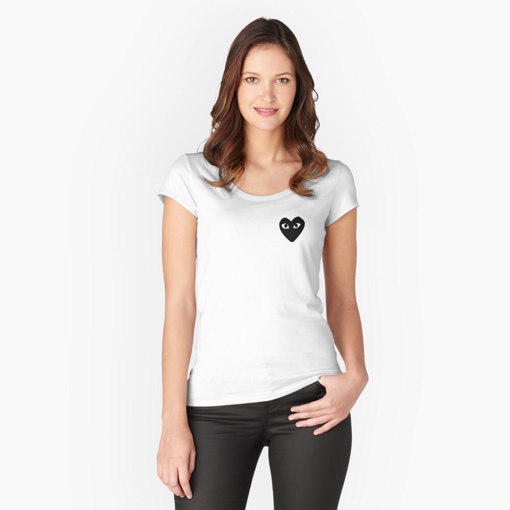 Schwarze Comme Des Garçons Tailliertes Rundhals-Shirt