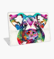 Bunte Schweinekunst - Squeal Appeal - von Sharon Cummings Laptop Skin