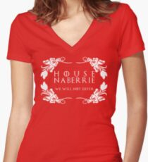 House Naberrie (white text) Women's Fitted V-Neck T-Shirt